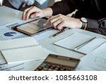 businessman use tablet... | Shutterstock . vector #1085663108