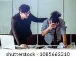 office worker stressed and sad... | Shutterstock . vector #1085663210