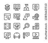 online learning line icons set. ... | Shutterstock .eps vector #1085663510