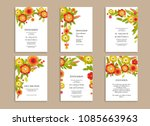 wedding invitation floral set.... | Shutterstock .eps vector #1085663963