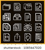 set of 16 file outline icons... | Shutterstock .eps vector #1085667020