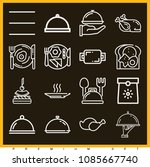 set of 16 lunch outline icons...   Shutterstock .eps vector #1085667740