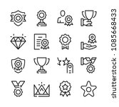 awards and trophies line icons... | Shutterstock .eps vector #1085668433