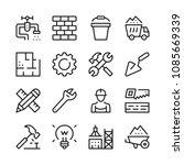 construction line icons set.... | Shutterstock .eps vector #1085669339