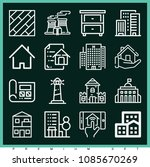set of 16 buildings outline... | Shutterstock .eps vector #1085670269