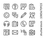 customer service line icons set.... | Shutterstock .eps vector #1085670923