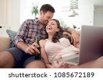 young beautiful couple in love... | Shutterstock . vector #1085672189