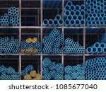 pvc  pipe material stack... | Shutterstock . vector #1085677040