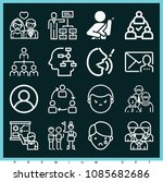 set of 16 people outline icons... | Shutterstock .eps vector #1085682686