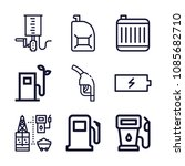 set of 9 fuel outline icons...   Shutterstock .eps vector #1085682710