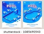 summer pool party invitation... | Shutterstock .eps vector #1085690543