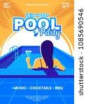 summer pool party vector... | Shutterstock .eps vector #1085690546