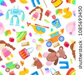 kids toys vector seamless... | Shutterstock .eps vector #1085693450