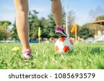 young female soccer player...   Shutterstock . vector #1085693579