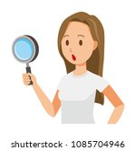 a long hair young woman has a... | Shutterstock .eps vector #1085704946
