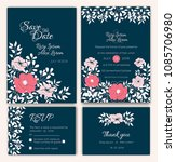 vector set of invitation cards... | Shutterstock .eps vector #1085706980