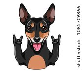 russian toy terrier dog. horns  ... | Shutterstock .eps vector #1085709866