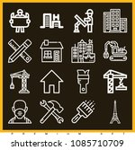 set of 16 construction outline... | Shutterstock .eps vector #1085710709