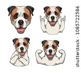 american bulldog. rock gesture  ...   Shutterstock .eps vector #1085722586