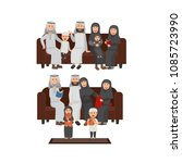 set of arabian family sitting... | Shutterstock .eps vector #1085723990