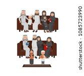 set of arabian family sitting... | Shutterstock .eps vector #1085723990