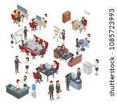 set of isometric office ... | Shutterstock .eps vector #1085723993
