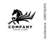 Stock vector abstract pegasus jump logo 1085736353