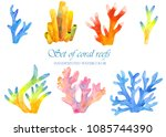 a set of coral reefs in... | Shutterstock . vector #1085744390