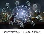 polygonal brain shape of an... | Shutterstock . vector #1085751434