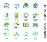 set of communication icons in... | Shutterstock .eps vector #1085751734