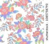 dark enchanted vintage flowers... | Shutterstock .eps vector #1085758793