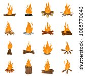 bonfire night fire icons set.... | Shutterstock .eps vector #1085770643
