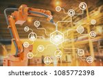 heavy automation robot arm... | Shutterstock . vector #1085772398