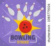 bowling strike icon. flat... | Shutterstock .eps vector #1085775026