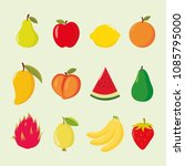 set of cartoon fruits...   Shutterstock .eps vector #1085795000