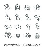 Stock vector minimal thin line pet icon set 1085806226