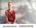 portrait of cheerful blonde... | Shutterstock . vector #1085810948