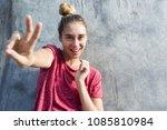 waist up portrait of joyous... | Shutterstock . vector #1085810984