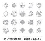 world map line icon set  global ... | Shutterstock .eps vector #1085813153