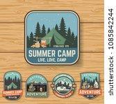 set of summer camp badges on... | Shutterstock .eps vector #1085842244