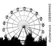 ferris wheel black and white | Shutterstock . vector #1085844443