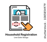 document with house symbol line ... | Shutterstock .eps vector #1085854979