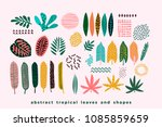 Stock vector set of abstract tropical leaves vector design elements 1085859659