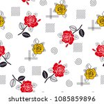 roses pattern yellow and red... | Shutterstock .eps vector #1085859896