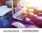 hands using laptop with... | Shutterstock . vector #1085862860