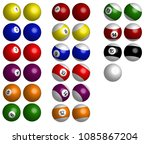 pool balls or snooker balls... | Shutterstock . vector #1085867204