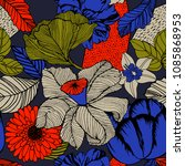 seamless summer vector pattern... | Shutterstock .eps vector #1085868953