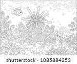 striped sea urchin  a funny... | Shutterstock .eps vector #1085884253