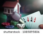 four aces cards in poker player ... | Shutterstock . vector #1085895806