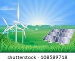 Illustration of wind turbines and solar panels generating renewable energy - stock vector